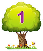 A tree with a number one figure — Stock Vector