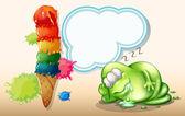 A tired monster sleeping near the giant icecream — Stock Vector