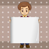 A man holding an empty template — Stock Vector