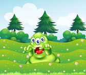 A scary three-eyed green monster at the hilltop — Stock Vector