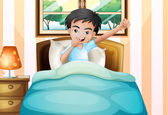 A boy waking up early — Stock Vector