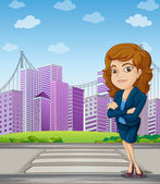 A businesswoman with a formal attire standing at the pedestrian — Stock Vector