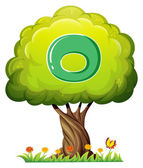 A tree with a letter O — Stock Vector