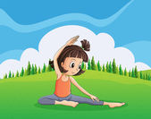 A young girl doing yoga at the hilltop — Stock Vector