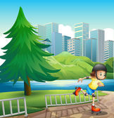 A young girl rollerskating near the riverbank — Stock Vector