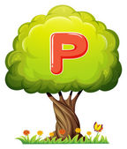 A tree with a letter P — Stock Vector