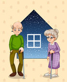 A grandfather and a grandmother — Stock Vector