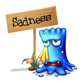 A very sad blue monster crying near a wooden signage — Stock Vector