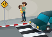 A father carrying his daughter at the pedestrian lane — Stock Vector