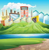 Green mountains near the river and the buildings — Stock Vector
