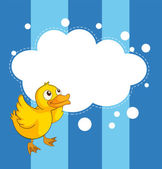 An empty cloud template with a yellow chick — Stock Vector