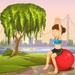 Stock Vector: A girl exercising with a bouncing ball near the giant tree