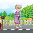 An old woman at the street with a cane standing near the mailbox — Stock Vector #32635943