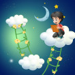A boy above the cloud watching a picture — Stock Vector