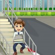 A smiling man at the stairs bringing a lot of documents — ベクター素材ストック