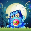 A carnival with a baby blue monster with a pacifier — Stock Vector