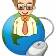 A smiling young businessman above the globe with a computer mous — Stock Vector #32636983