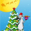 A zebra beside the tall christmas tree — Vetorial Stock