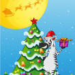 A zebra beside the tall christmas tree — Stockvector