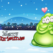 A christmas card with a green monster — Vector de stock