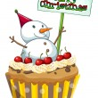A cupcake with a christmas sign and a snowman — Stock Vector