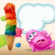 Dying pink beanie monster near icecream — Vector de stock #32639229