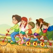 Stock Vector: Happy kids riding the bicycle at the farm