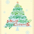 A christmas card with a christmas tree — Stockvectorbeeld