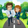 A male and a female standing in the middle of the road — Stock Vector