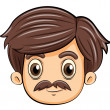 A head of an adult with a mustache — Stock Vector
