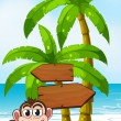 Worried monkey at beach with empty callout — Stock Vector #32639709