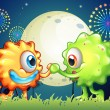 Two monster friends at the carnival — Imagens vectoriais em stock