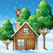 An elf Santa with a gift above his head standing near the roofto — Stock Vector #32639837