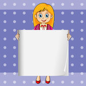 A smiling young lady holding an empty rectangular template — Stock Vector