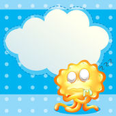 A sleeping orange monster in front of the empty cloud template — Stock Vector