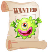 A wanted one-eyed monster in a poster — Stock Vector