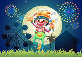 A clown at the amusement park — Stock Vector