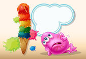 A dying pink beanie monster near the icecream — Vector de stock