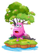 An island with a pink monster near the giant tree — Stock Vector