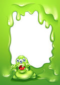 A green border design with a scary green monster — Stock Vector
