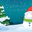 A smiling snowman near the pine tree — Stock Vector
