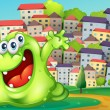 A monster shouting for joy at the hilltop across the tall buildi — Imagen vectorial