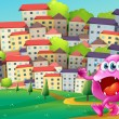 A monster walking at the hill across the buildings — Stock Vector #32640811