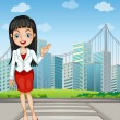 A pretty woman presenting the tall buildings — 图库矢量图片