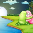 A green monster comforting the pink monster at the riverbank — Stock Vector