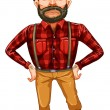Stock Vector: Scary lumberjack standing