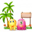 A yellow and a pink monster couple standing in front of the empt — Stock Vector