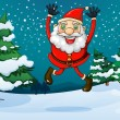 A happy Santa near the pine trees — Imagen vectorial