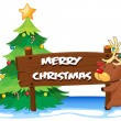 A reindeer hugging the wooden signboard for christmas — Imagen vectorial