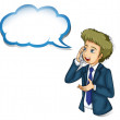 A businessman talking over the phone with an empty callout — Imagen vectorial